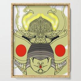 Golden Female Samurai Helmet Serving Tray