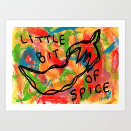 Chili Illustration Colorful Kitchen Food Vegan Red Pepper Humor Quote Life Is A Bit Spicy Sometimes Art Print