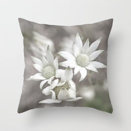 Flannel Flowers Throw Pillow