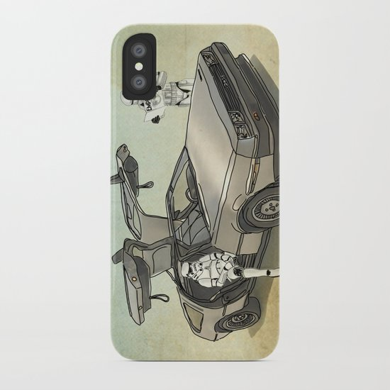 Lost, searching for the DeathStarr _ 2 Stormtrooopers in a DeLorean  iPhone Case