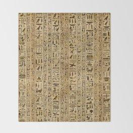Egyptian hieroglyphs on papyrus Throw Blanket