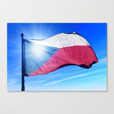 Czech Republic flag waving on the wind Canvas Print