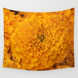 Golden Marigold Flowers Close up Wall Tapestry