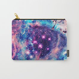 Trendy Pastel Pink Blue Nebula Girly Stars Galaxy Carry-All Pouch