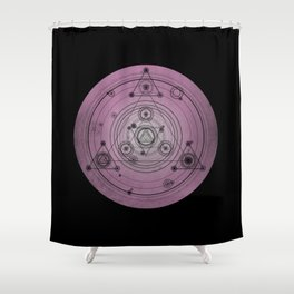 Pink mandala with alchemy symbols and distressed wiccan design Shower Curtain