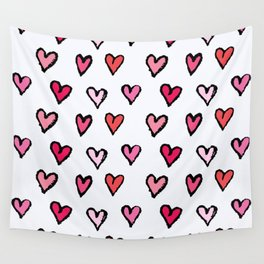 Cute Girly Pink Hand Drawn Hearts on White Pattern Wall Tapestry