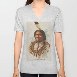 Hairy Bear, Winnebagoes, from the American Indian Chiefs series (N2) for Allen & Ginter Cigarettes B Unisex V-Neck