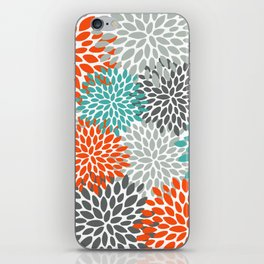Floral Pattern, Abstract, Orange, Teal and Gray iPhone Skin