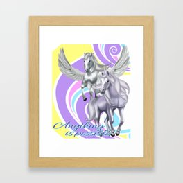 Unicorn &  Pegasus - Anything is possible Magical Fantasy T-Shirt Framed Art Print