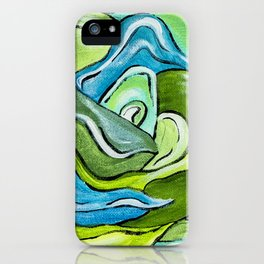 Floral in Green & Blue iPhone Case