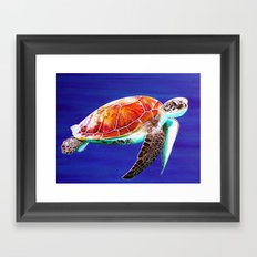 Textured Seaturtle Acrylic Painting Framed Art Print