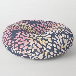 Navy and Pink Watercolor Firework Flower Floor Pillow