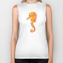 Seahorse Watercolor Painting - Orange Ocean Animal Biker Tank