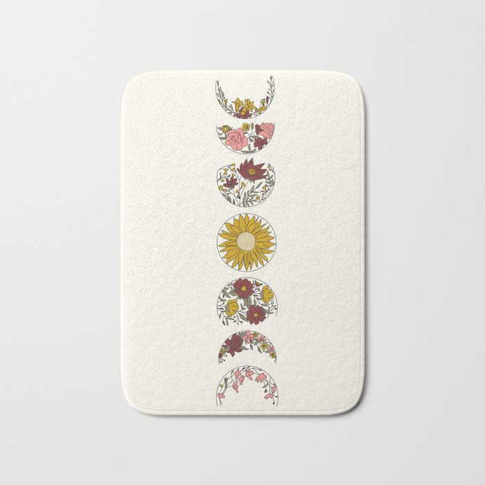 Floral Phases of the Moon Bath Mat