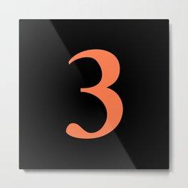3 (CORAL & BLACK NUMBERS) Metal Print