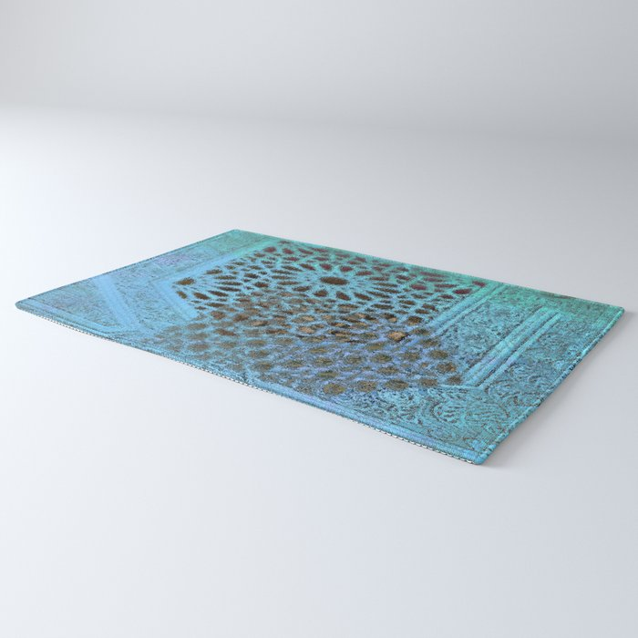 Moroccan Blue Stained Glass effect Rug