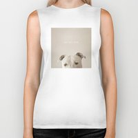 pit bull Biker Tanks featuring Pit bull love  by Laura Ruth