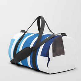 Blue Minimalist Mid Century Modern Inca Watercolor Stripes Staggered Symmetrical Pattern Duffle Bag