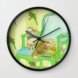 animals in chairs #6 The Sloth Wall Clock