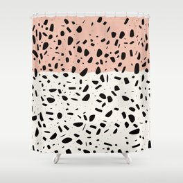 Terrazzo pink abstract Shower Curtain
