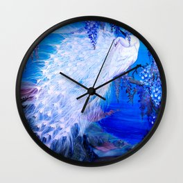 White Peacock at Twilight Wall Clock