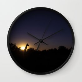 Giraffe at Sunset Wall Clock