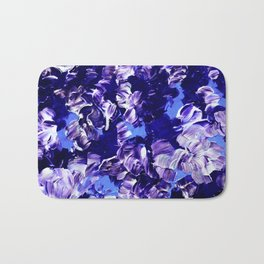 FLORAL FANTASY 2 Bold  Blue Lavender Purple Abstract Flowers Acrylic Textural Painting Garden Art Bath Mat