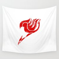 fairy tail Wall Tapestries featuring Fairy Tail Segmented Logo by JoshBeck