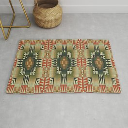Orange Red Olive Green Native American Indian Mosaic Pattern Rug