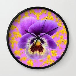 LILAC  PANSY SPRING DAFFODILS ART Wall Clock