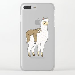 Alpaca Shirt With A Cute Illustration Of Alpaca Llama With A Sloth On His Back T-shirt Design Clear iPhone Case