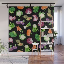 Black veggies pattern | Vegetables illustration pattern Wall Mural