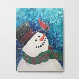 Snowy Hello Metal Print