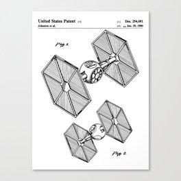 Starwars Tie Fighter Patent - Tie Fighter Art - Black And White Canvas Print