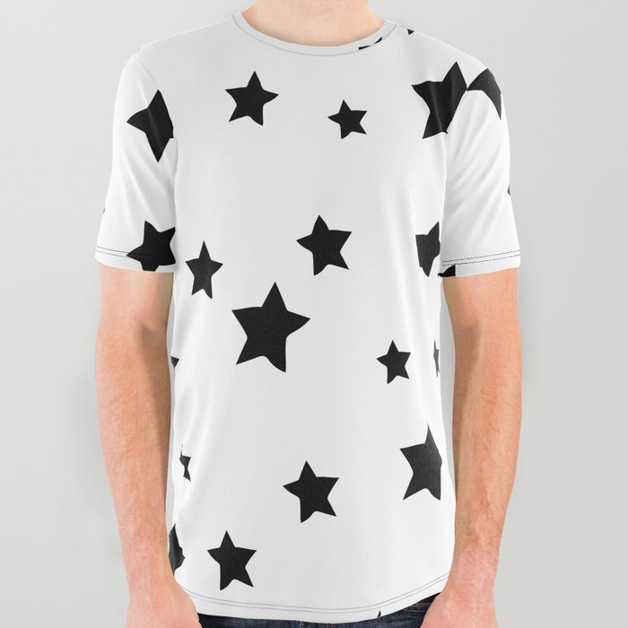 Black and White Stars All Over Graphic Tee