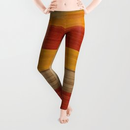 Contemporary Turkish 19th Century Authentic Colorful Yellow Red Brown Vintage Patterns Leggings