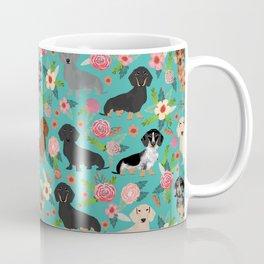Dachshund florals flower pet portrait dog art dachsie doxie pet art dog breeds Coffee Mug