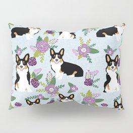 Tricolored Corgi Floral print - feminine blue purpl florals dogs, dog lover, dog mom, tri corgi cute Pillow Sham