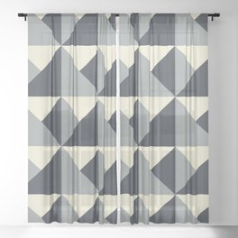 Gray + Cream Origami Geo Tile Sheer Curtain