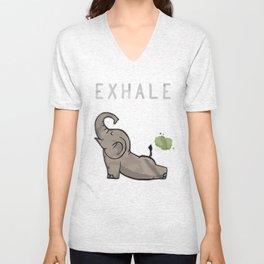 Elephant exhale funny shirt Unisex V-Neck