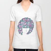 hair V-neck T-shirts featuring Hair by Regina Rivas Bigordá