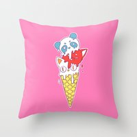 ice cream Throw Pillows featuring Ice Cream by Freeminds