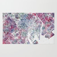 tokyo Area & Throw Rugs featuring TOKYO by MapMapMaps.Watercolors