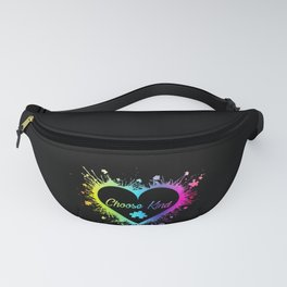 Choose Kind Colorfull Splatter Heart print Autism Awareness Fanny Pack