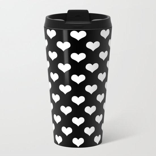 Black White Hearts Metal Travel Mug