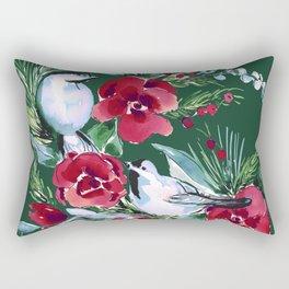 Winter Birds Dark Green Rectangular Pillow