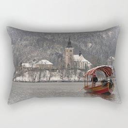 Red Pletna Boat At Lake Bled Rectangular Pillow
