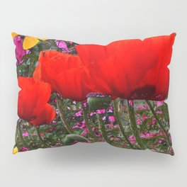 ORANGE ORIENTAL POPPIES & YELLOW BUTTERFLIES Pillow Sham