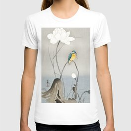 Kingfisher sitting on a lotus flower - Vintage Japanese Woodblock Print Art T-shirt