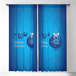Blue X-Mas Bulbs - 64 Blackout Curtain